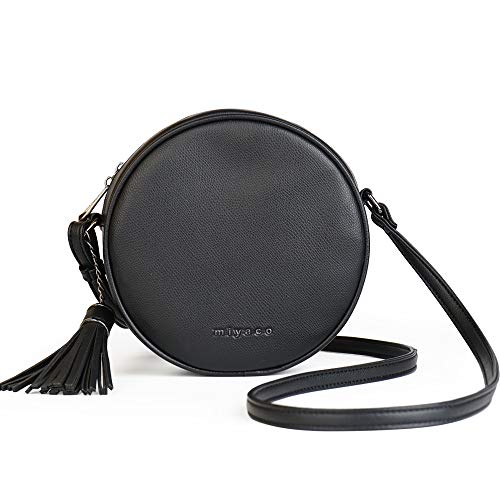 Women's Round Cross-Body Zipper Shoulder Bag Soft Leather Circle Purses and Handbags with Tassel -