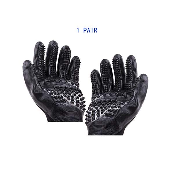 Pet Grooming Massage Gloves with Enhanced Five Finger Design,Gentle Washing DeShedding Brush Tool for Small,Medium,Large Dogs and Cats with Long or Short Hair (1 Pair(Black)) 1