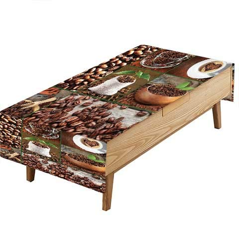PINAFORE Spillproof Fabric Tablecloth Brown Collage Coffee Beans in Cups Bags Green Leaves Garden Kitchen Picnic Living Room Hotel Cafe W60 x L102 INCH