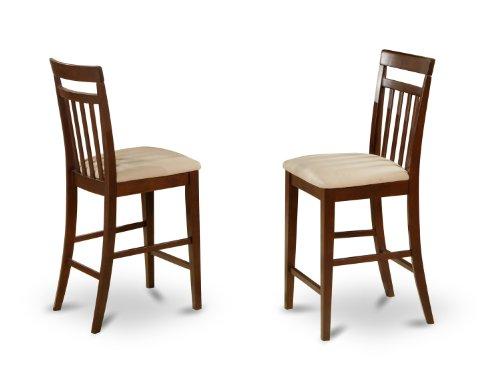 East West Furniture EWS-MAH-C Stool Set with Upholstered Seat, Mahogany Finish, Set of 2 - Mahogany Walnut Bar Stool