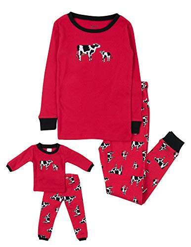Leveret Kids & Toddler Pajamas Matching Doll & Girls Pajamas 100% Cotton Christmas Pjs Set (Cow,Size 10 Years)