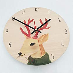 Zdtxkj Nordic Style Circle Clock Wooden Decorative Durable Fairy Tale Style Silent Clock for Living Room Bedroom Decorating Home