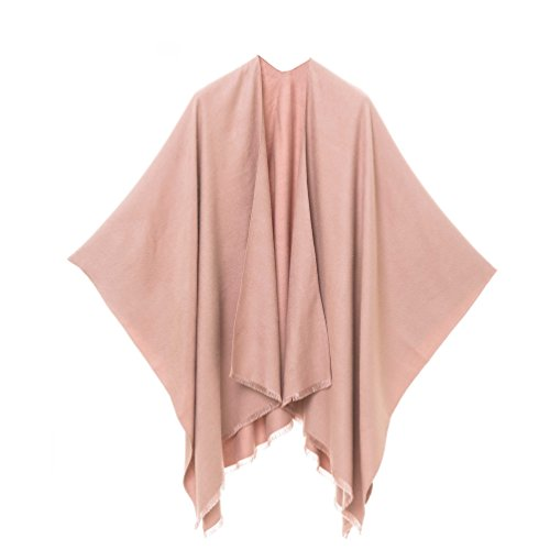 Cardigan Poncho Cape: Women Elegant Pink Cardigan Shawl Wrap Sweater Coat for Winter (Pink)