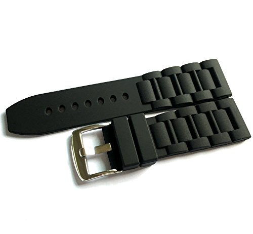 24mm Black Authentic Silicone Rubber Watch Strap Band Stainless Steel Buckle for Fossil Watch
