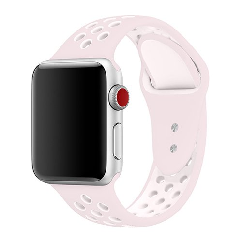 - jwacct for Apple Watch Band 38mm, Soft Breathable Silicone Sport Strap Replacement Wristband Bracelet for Apple iWatch Series 3, Series 2, Series 1, Sport, Edition, S/M Size (Barely Rose/Pearl Pink)