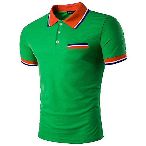 SparrK Mens Fashion Contrast Color Short Sleeve Polo T-shirt Green - Gainesville Outlets