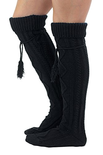 Tie Boot Socks Women's Tall Alpine Boutique Socks Brand by Modern Boho Black by Boutique Socks