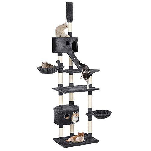 Yaheetech Kratzbaum XXL Kletterbaum für Katzen – Katzenbaum deckenhoch höhenverstellbar 228-255 cm