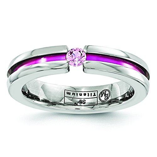 Titanium Pink Sapphire and Anodized Grooved Wedding Band Size 7.5