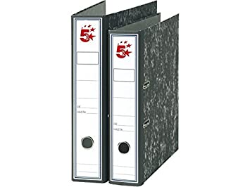 5 STAR Archivador Palanca Folio Lomo 75mm Jaspeado Negro 922552: Amazon.es: Oficina y papelería