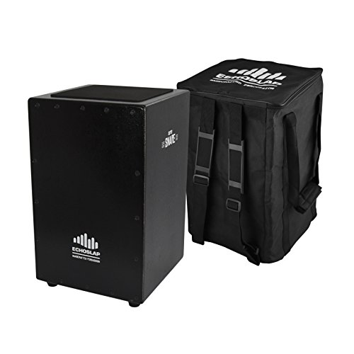 (Echoslap Siam Oak Black Super Snare Cajon - Hand Made, Textured Black Finish, Siam Oak Body, Maple Frontplate, 21 Snare Wires + Free Gig)