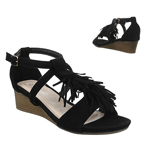 Ital-Design Damen Schuhe, JU-65, Sandaletten Pumps mit Fransen Schwarz