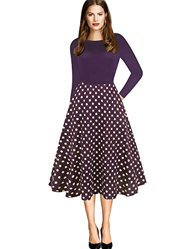 oxiuly Women's Elegant Long Sleeve Scoop Neck Polka Dot Patchwork Pockets Evening Party Cocktail A-Line Dress OX262 (XXL, Purple dot pt9) (Scoop Neck Sleeve Dress Long)