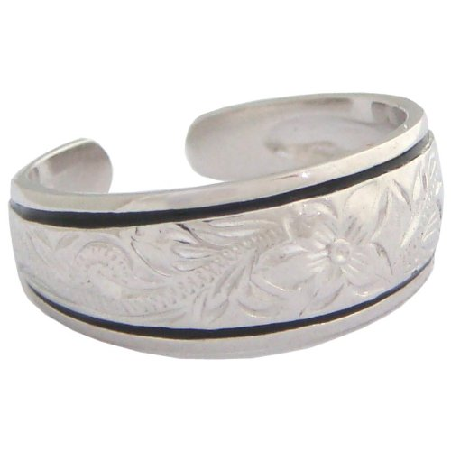 Silver Ring Scroll Borders - Hawaiian Heirloom Jewelry Sterling Silver Plumeria Flower Tapered Toe Ring