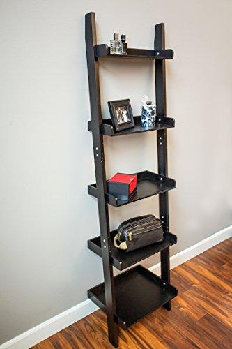 Black Unique 5-Tier Leaning Ladder Bookcase 65