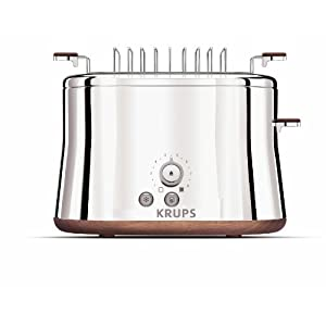 KRUPS KH754 Silver Art Collection 2-Slice Toaster with Bun Warmer and Stainless Steel Housing, Silver