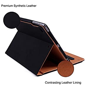"""HDE 2017 iPad 9.7"""" Leather Case with Screen Protector - Vintage Folio Cover Case Multi-Angle Viewing Stand with Document Pocket for New Apple iPad 9.7 Inch (5th generation iPad, March 2017) - Black"""