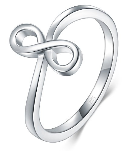 BORUO 925 Sterling Silver Ring, High Polish Infinity Symbol Tarnish Resistant Comfort Fit Wedding Band Ring Size ()