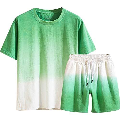 F_Gotal Men's Cotton Linen Gradient Sport Casual Two Pieces Outfit Crewneck Shirt& Shorts Jumpsuit Sets Green
