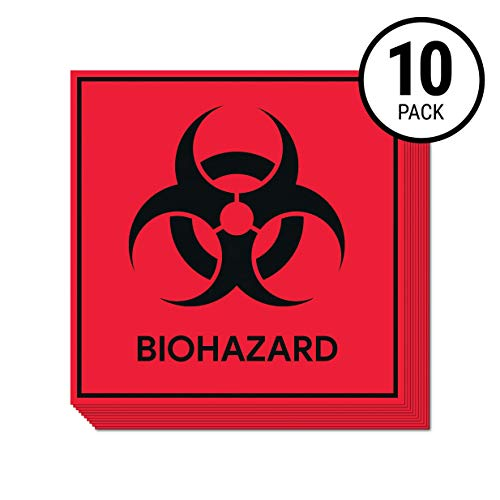 Biohazard Sticker - Biohazard Stickers Signs (Pack of 10) | Decals for Labs, Hospitals, and Industrial Use