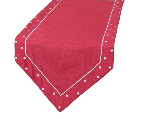 Xia Home Fashions Polka Dot Embroidered Easy Care Table Runner, 15 by 72-Inch, Red by Xia Home Fashions