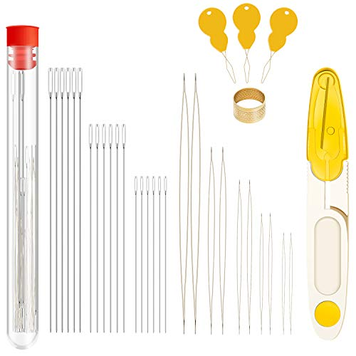 46 Pieces Beading Needles Set, 5 Sizes Big Eye Needles, 3 Sizes Long Straight Needles with Storage Tube, Scissor, Threader, Thimble for Jewelry Making
