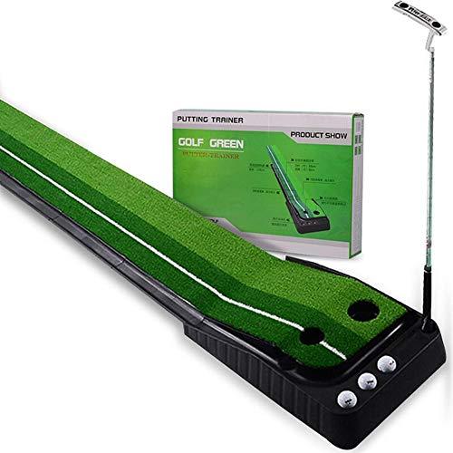 (Ladeyi Golf Pad Trainer Aid Equipment Golf Putting Mat Indoor and Outdoor Golf Practice Mat Green Grass Lawn Golf Return Golf Training Equipment 2.5m (Paper Box))