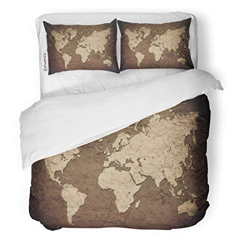 Semtomn Decor Duvet Cover Set Twin Size America Vintage World Map Wall North Old Parchment Africa 3 Piece Brushed Microfiber Fabric Print Bedding Set Cover]()