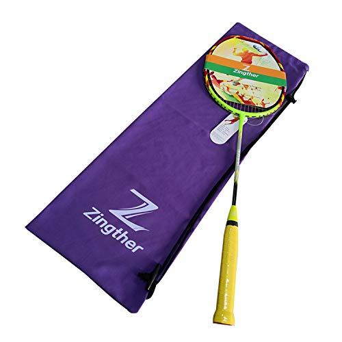 Zingther Professional Graphite Badminton Racket for Kids, Men & Women, with Yellow String, 82+/-2g Weight, Strung at 22lb (1-Pack, Pre-Strung at 22lb)