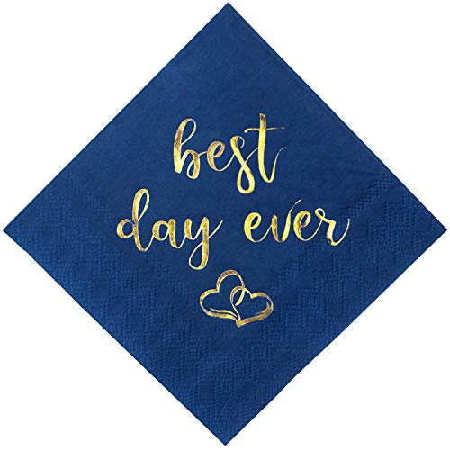 Crisky Wedding Cocktail Napkins Navy Blue Gold Best Day Ever Napkins for Wedding Dessert Beverage Table Decorations Wedding Party Supplies 100 Pcs, 3-ply -