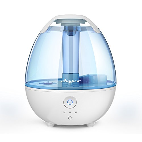 Cool Mist Humidifier - Ultrasonic Humidifier Super-Quiet Mist Humidifiers with Silver ion Antibacterial Agent, 3 Time Settings, High/Low Mist Control and Night Light Ideal Humidifiers for Baby Bedroom