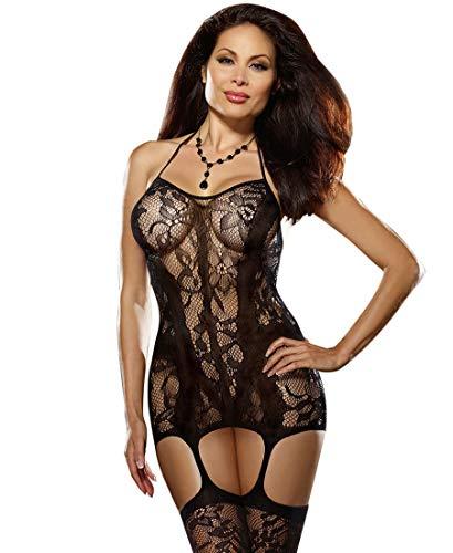 Lace And Opaque Seam Garter Dress Black Diamond (Black;Plus Size) (Criss Cross Bodystocking)