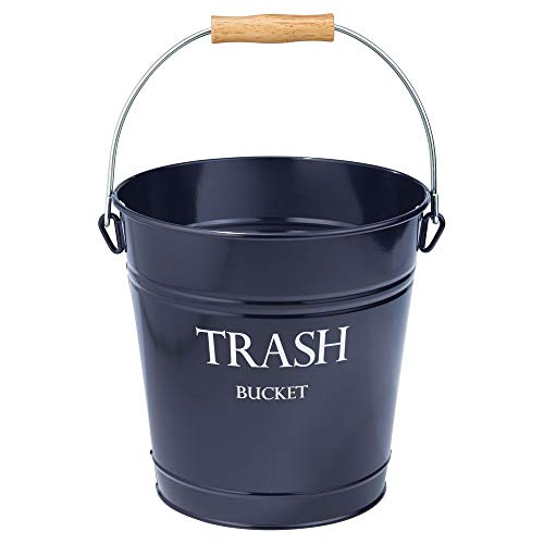 mDesign Small Round Metal Trash Can Pail, Wastebasket, Garbage Container Bin for Bathrooms, Kitchens, Home Offices - Farmhouse Decor - Portable, Wood Grip Handle - Navy Blue/White Lettering