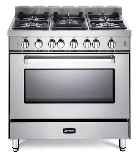 Verona VEFSGG365NSS 36″ All Gas Single Oven Range 5 Burner Cooktop Stainless Steel