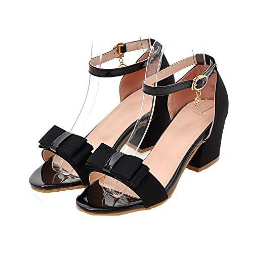 Black Toe Sandali Open sintetici Women Agoolar Gmxlb008322 Dress Solid qPS8n