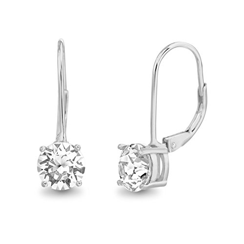 Devin Rose Sterling Silver Solitaire Leverback Earrings for Women made With Swarovski Crystals