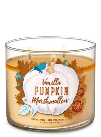 Bath and Body Works 3 Wick Scented Candle Vanilla Pumpkin Marshmallow 14.5 Ounce by Bath & Body Works