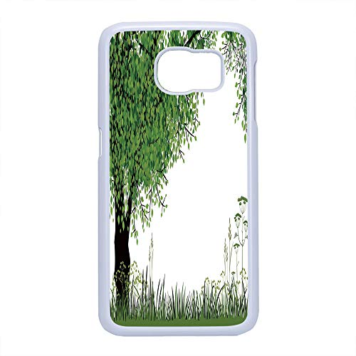 Cell Phone Case Compatible Samsung Galaxy S6,Nature - Hard Plastic Phone Case/White - Tree Grass at Park Herbs Summer Season Eco Environment Mother Earth Image Decorative