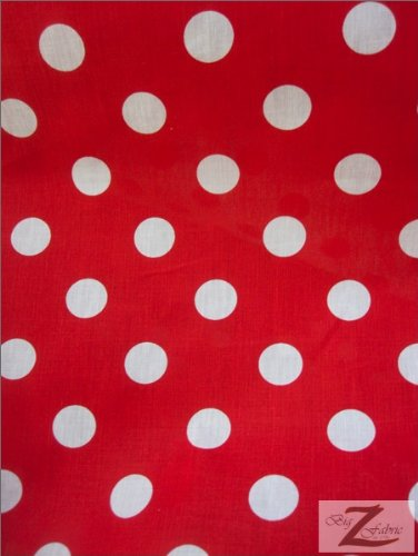 60-Inch Wide Polka Dot Poly Cotton Fabric By The Yard, White Dot On Red Fabric