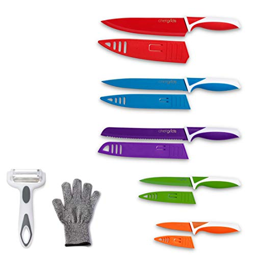 Chef Grids Colorful Knife Set with Knife Covers and Multi Peeler | 12-piece Kitchen Knives Set Rainbow Knife Set with Assorted Colored Knives and Single Glove