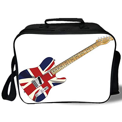 Union Jack 3D Print Insulated Lunch Bag,Classical Electric Guitar UK Flag Great Britain Music Instrument Decorative,for Work/School/Picnic,Light Brown Silver Black ()