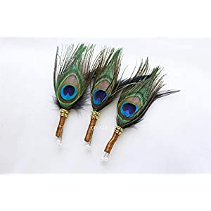 LISALI 3 pcs Peacock Feather Boutonniere, Wedding Feathers Boutonniere, Button Hole, Great Gatsby 1920s Boutonniere, Groom and Groomsmen 95