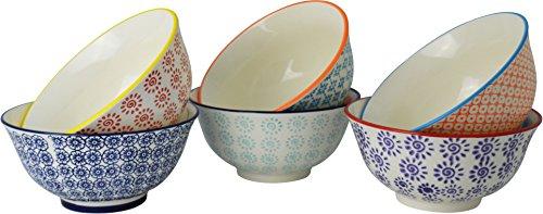Nicola Spring Gemusterte Müslischalen - 152 ml - 6 Individuelle Designs - 6er Set