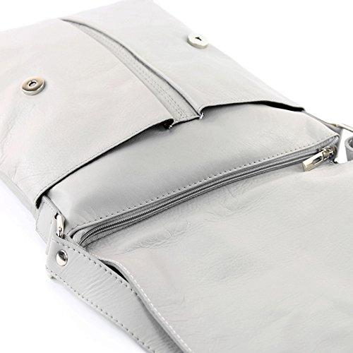 modamoda de ital. Borsa a tracolla Messenger signore borsa grande in pelle T75, Präzise Farbe (nur Farbe):Hellgrau