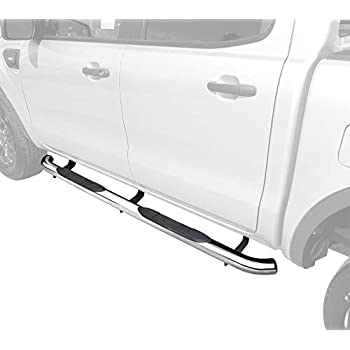 MaxMate Premium Custom Fit 2019 Ford Ranger SuperCrew Cab Stainless Steel 5 Oval Bend End Side Step Rails Nerf Bars Running Boards 2pcs with Mounting Bracket Kit