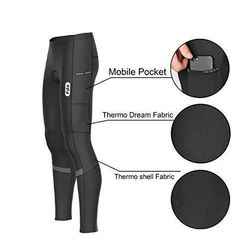 FDX Mens All Day Cycling Tights 3D Padded Winter Thermal Pockets Bike Leggings