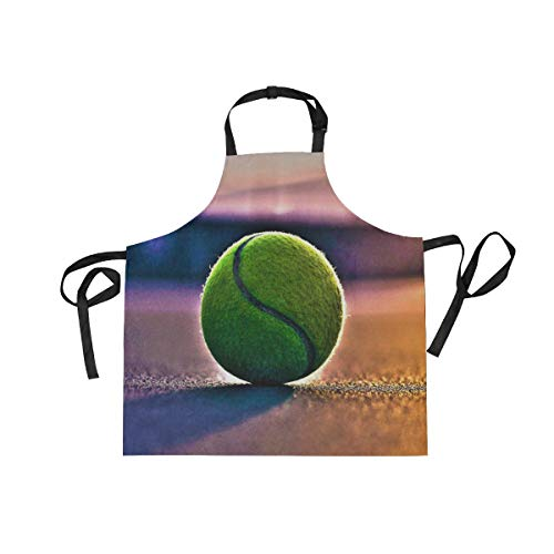XiangHeFu Bib Aprons with 2 Pockets Tennis Court 27.5 x 29 Inch Adjustable Neck Strap for Men Women Cooking Baking Chef Kitchen