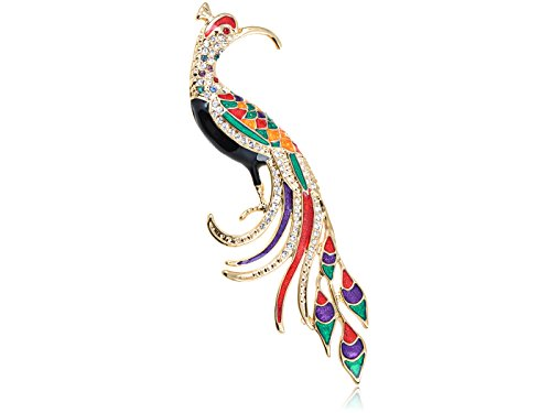 (Alilang Golden Tone Shine Clear Crystal Rhinestones Colorful Enamel Phoenix Peacock Bird Brooch Pin)