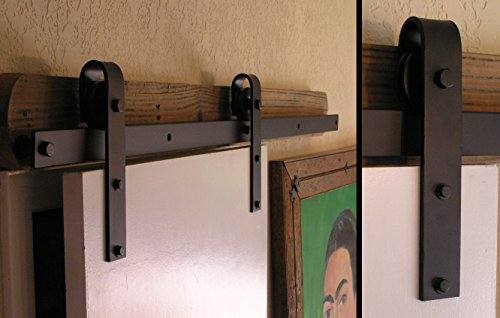 Agave Ironworks - 8' Ft. Flat Track Door Hardware Kit - Smooth Black - RH001-8-01-F by Agave Ironworks (Image #1)