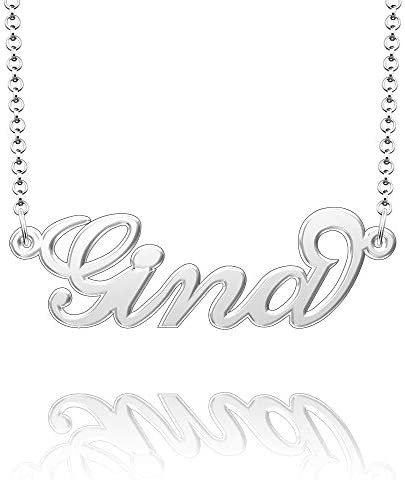 Moonlight Collections Sterling Silver Custom Name Necklace Jade Nameplate Necklace Personalized Monogram Letter Pendant